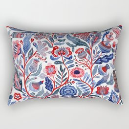 Botanical in red and blue Rectangular Pillow