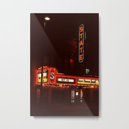 Night Lights State Street Theater, Ithaca NY Metal Print