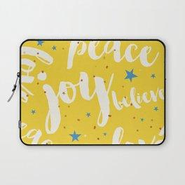 Peace & Joy Typography Yellow Background Laptop Sleeve