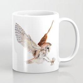 Barn Owl Watercolor Flying Bird of Prey Coffee Mug