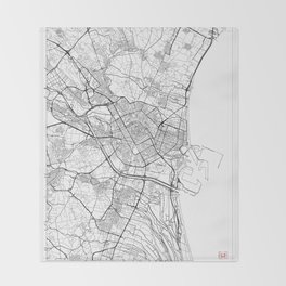 Valencia Map White Throw Blanket