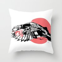 hustle Throw Pillows featuring hustle by KUI29