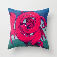 skyrim Throw Pillows featuring Last of the Dovah (Skyrim) by Andrea Meli