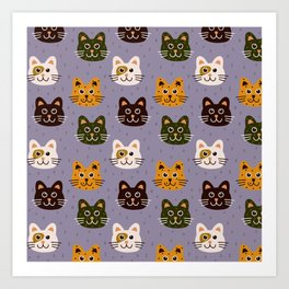 Purple Cat Pattern Art Print