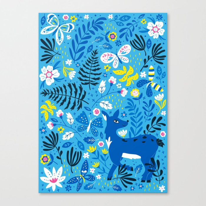 Deer and Butterflies (Sky Blue) Canvas Print