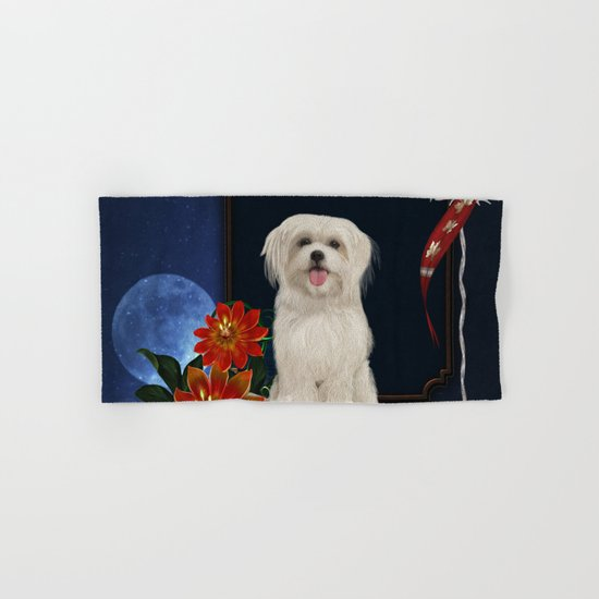Cute little havanese puppy with flowers by nicky2342