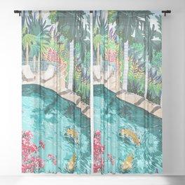 Luxury Villa #illustration #painting Sheer Curtain