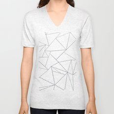 Abstract Dotted Lines Grey Unisex V-Neck