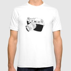 Camera Drawing White Mens Fitted Tee MEDIUM