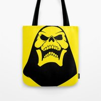 skeletor Tote Bags featuring Skeletor. by Glassy