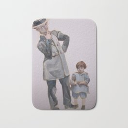 Watercolor Painting of a Smoking Lady with Child Bath Mat