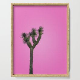 Joshua Tree with Minimal Pink Sky Serving Tray