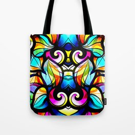 Colorful Abstract Stained Glass Design Tote Bag