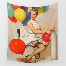 Vintage Pin Up Girl and Colorful Balloons Wall Tapestry