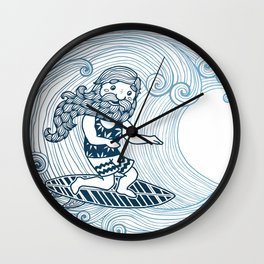 Surfer with long beard Wall Clock