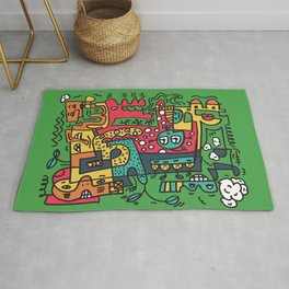 Green Doodle Monster World by Pablo Rodriguez (Pabzoide) Rug