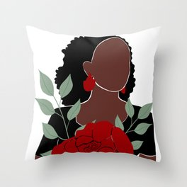 Black woman with Roses art, Black Woman Illustration, Female Portrait Print, Modern art, Black Girl Wall Art,African woman Art,African american Throw Pillow