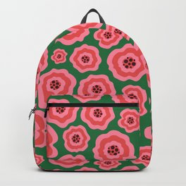 Pink liquid abstract flowers on green background Backpack