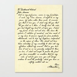 Alexander Hamilton Letter to John Laurens Canvas Print