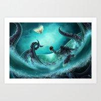 kraken Art Prints featuring Kraken by Zeynep Aktaş