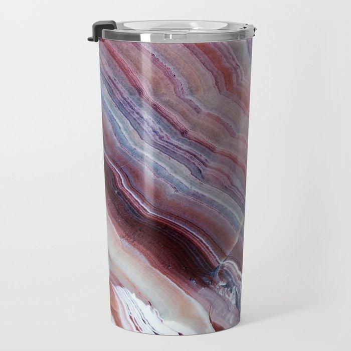 Purple & Pink Striped Agate Geode Quartz Slab Travel Mug
