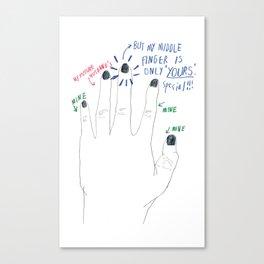 midder finger Canvas Print