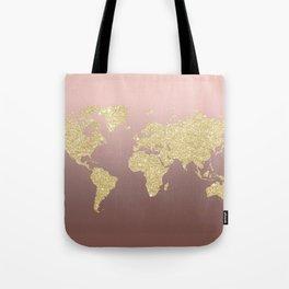 Gold Glitter on Rose Gold World Map Art Tote Bag