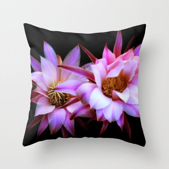 Purple cactus blossom Throw Pillow