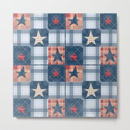 Blue denim plaid patchwork . Metal Print