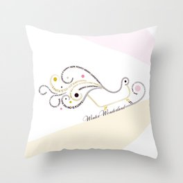 Typographic Christmas Sleigh Throw Pillow