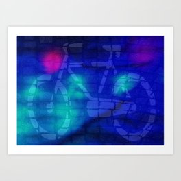 Bicycle sign on the street Art Print
