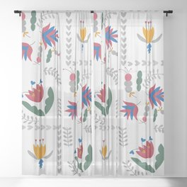 Heart of Silver – Motif – Blue Bell – Scandinavian Folk Art Sheer Curtain