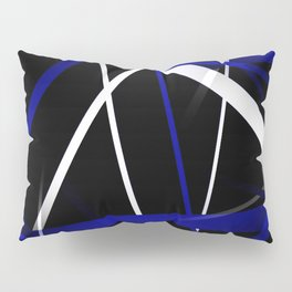 Seamless Royal Blue and White Stripes on A Black Background Pillow Sham
