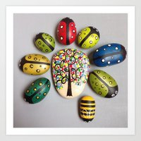 Ladybird and a bee under a tree #1 Art Print
