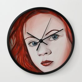 girl with red hair Wall Clock