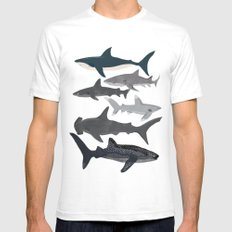 Sharks nature animal illustration texture print marine biologist sea life ocean Andrea Lauren White SMALL Mens Fitted Tee