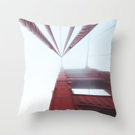 Golden Gate Bridge fogged up - San Francisco, CA Throw Pillow