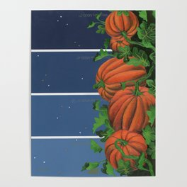 Pumpkin Patch at Night on Blues Poster