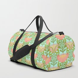 King Protea Flower Pattern - Turquoise Duffle Bag