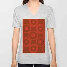 Circles In Red Unisex V-Neck