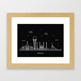 Astana Minimal Nightscape / Skyline Drawing Framed Art Print