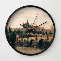 prague Wall Clocks featuring Prague by maisie ong