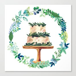 Cake Wreath Butterfly Leaves Canvas Print