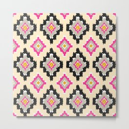 Boho Ikat Diamonds Metal Print