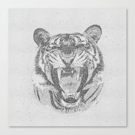 Black and White Tiger Dot Art Canvas Print