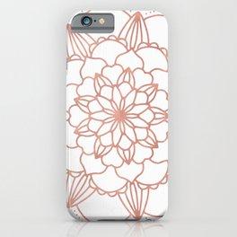 Rose Gold Mandala Flower on White III iPhone Case
