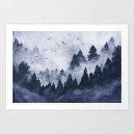 Dark blue misty forest Art Print