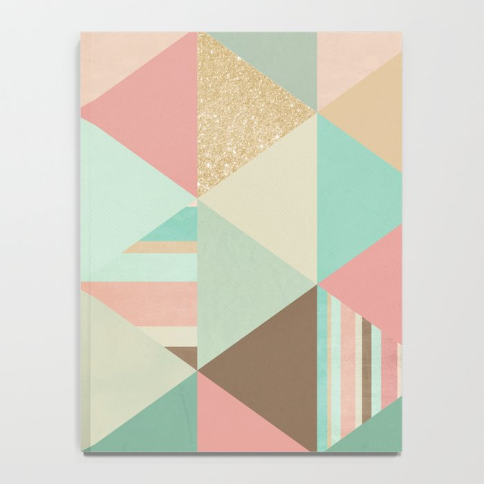 Peach, Mint and Gold Triangles Notebook
