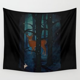 Winter Woods at Night Wall Tapestry
