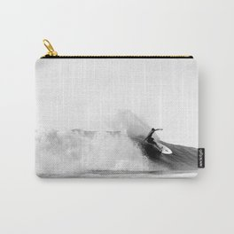 Surfer, Big Wave, Beach Wall Art, Black and White Photograph Carry-All Pouch